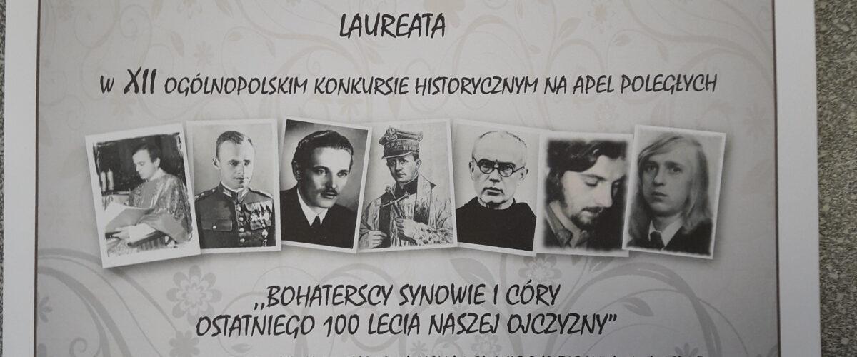 Sukces ucznia SP Nr 24 w XII Ogólnopolski Konkurs Historyczny na APEL POLEGŁYCH