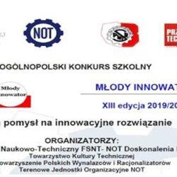 """Ogólnopolski Konkurs """"Młody Innowator 2019/2020"""""""